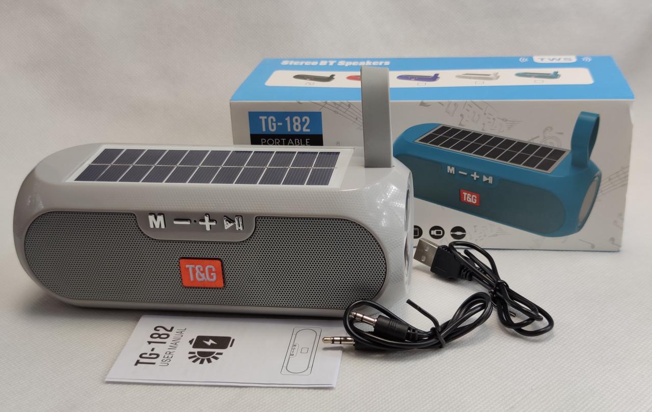 Портативная беспроводная bluetooth юсб колонка музыки блютуз акустика с солнечной батареей для телефона серая