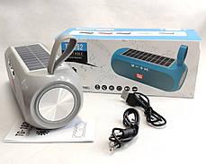 Портативная беспроводная bluetooth юсб колонка музыки блютуз акустика с солнечной батареей для телефона серая, фото 3