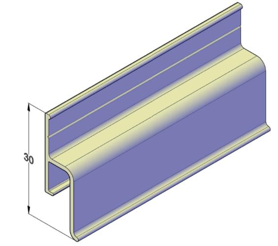 Алюминиевый пристенный профиль безвставочный для натяжных потолков 2,5 м