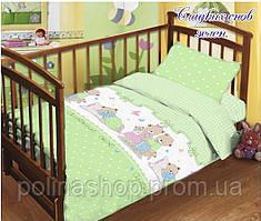 """Детский комплект постельного белья в кроватку ТМ """"TAG"""" поплин """"Сладких снов"""" зеленый"""