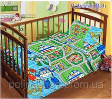 """Детский комплект постельного белья в кроватку ТМ """"TAG"""" поплин """"Robocar Poli"""""""