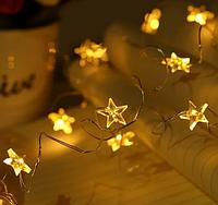Гирлянда Звезды Теплый белый 20LED на батарейках RD-9027 | Новогодняя светодиодная бахрома