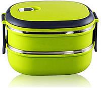 Термо ланч-бокс Benson BN-043 1800ML 2-х ярусный прямоугольный двойной контейнер для еды Бенсон термос пищевой