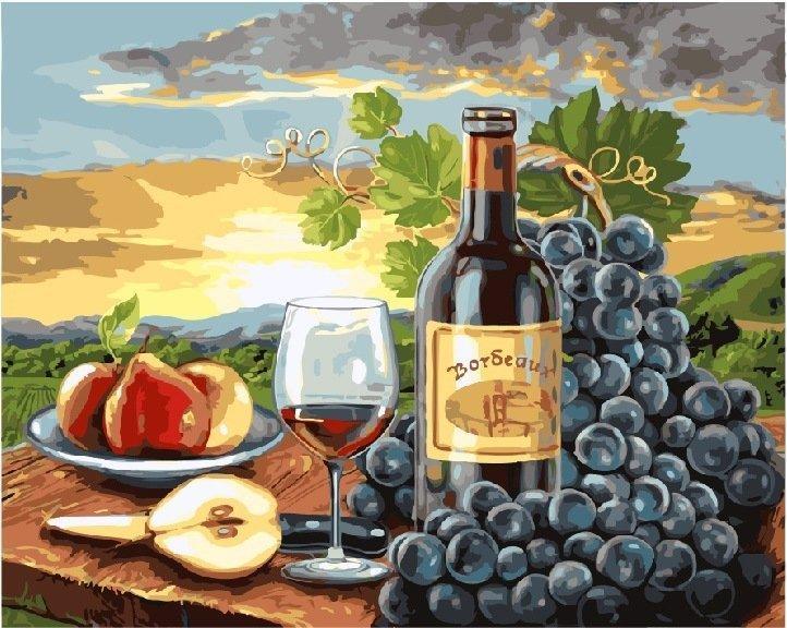 Картина по номерам Brushme Закат с вином и фруктами