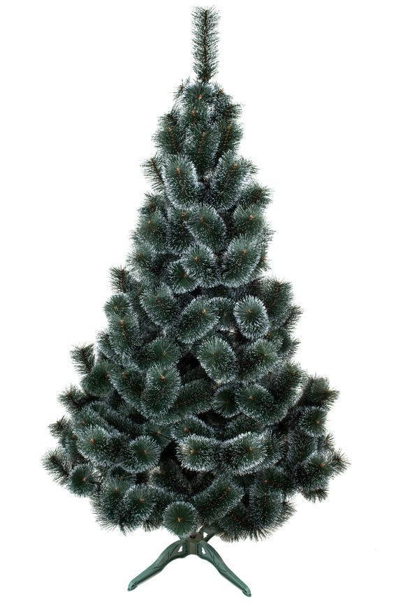 Сосна искусственная ПВХ зеленая с белыми кончиками 1.8м | Новогодняя пушистая елка сосна с инеем