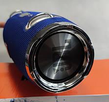 Портативная беспроводная bluetooth большая юсб колонка для музыки блютуз акустика для телефона синяя 28см., фото 3