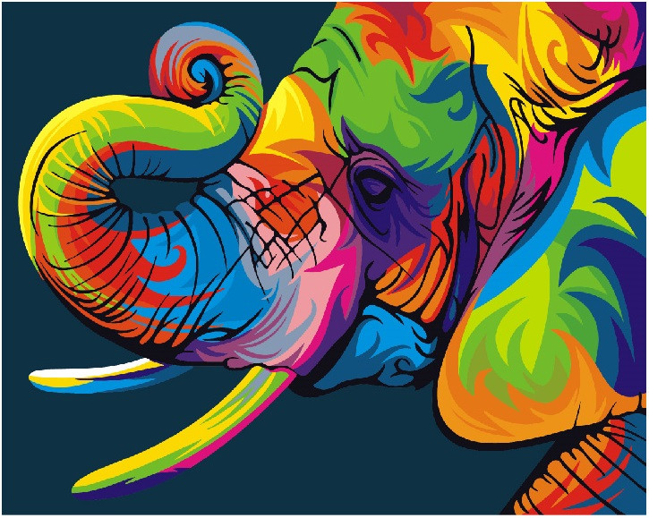 Картина по номерам Brushme Радужный слон