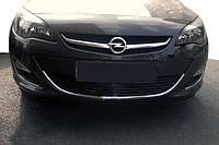 Накладка на передний бампер (нерж) Opel Astra J 2010 гг. / Защитные (хром) накладки на бампер Опель Астра