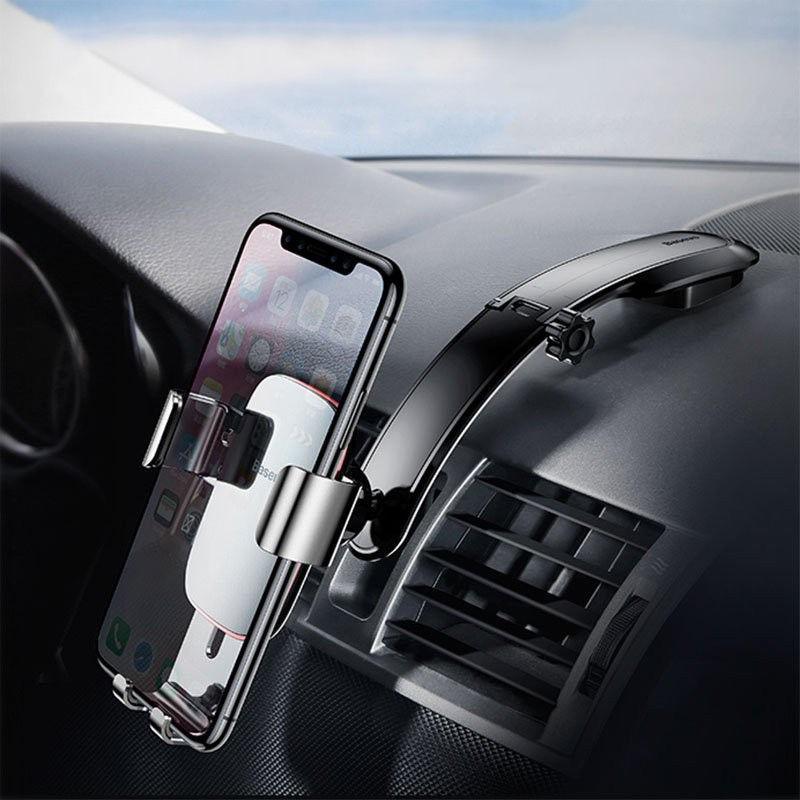 Автодержатель для телефона 4-6'' Baseus Metal Age Gravity Car Mount Connecting Rod Type black (SUYL-F01)