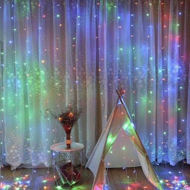 """LED Гирлянда """"Дождь"""" 3м*2м, Разноцветная 200 лампочек"""