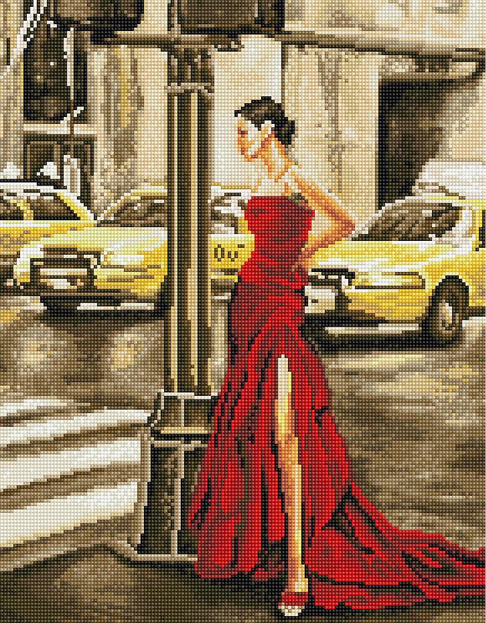 Картина по номерам Brushme Девушка и желтое такси