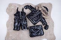 Детский зимний комбинезон тройка черный с натуральным мехом енота 0-2 года