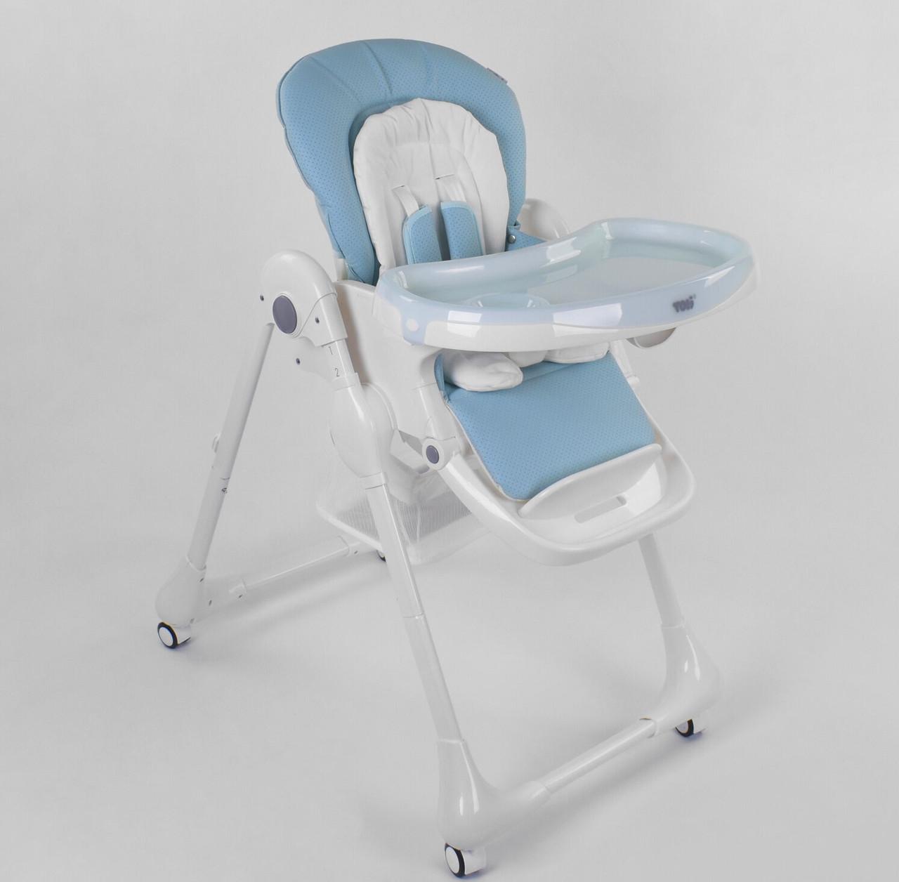 Детский стульчик для кормления ребенка, высокий на колесиках, с регулируемой спинкой Toti W-48406, голубой