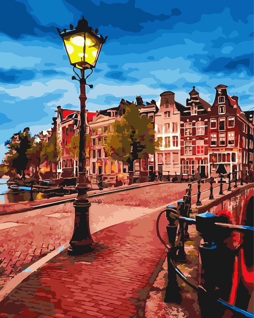 Картина по номерам Brushme Желтый фонарь на вечерней улице