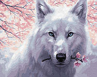 "Картина по номерам Brushme ""Волк с цветком"""