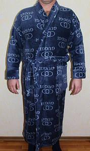 Мужской велюровый халат без капюшона под пояс 48-58 р