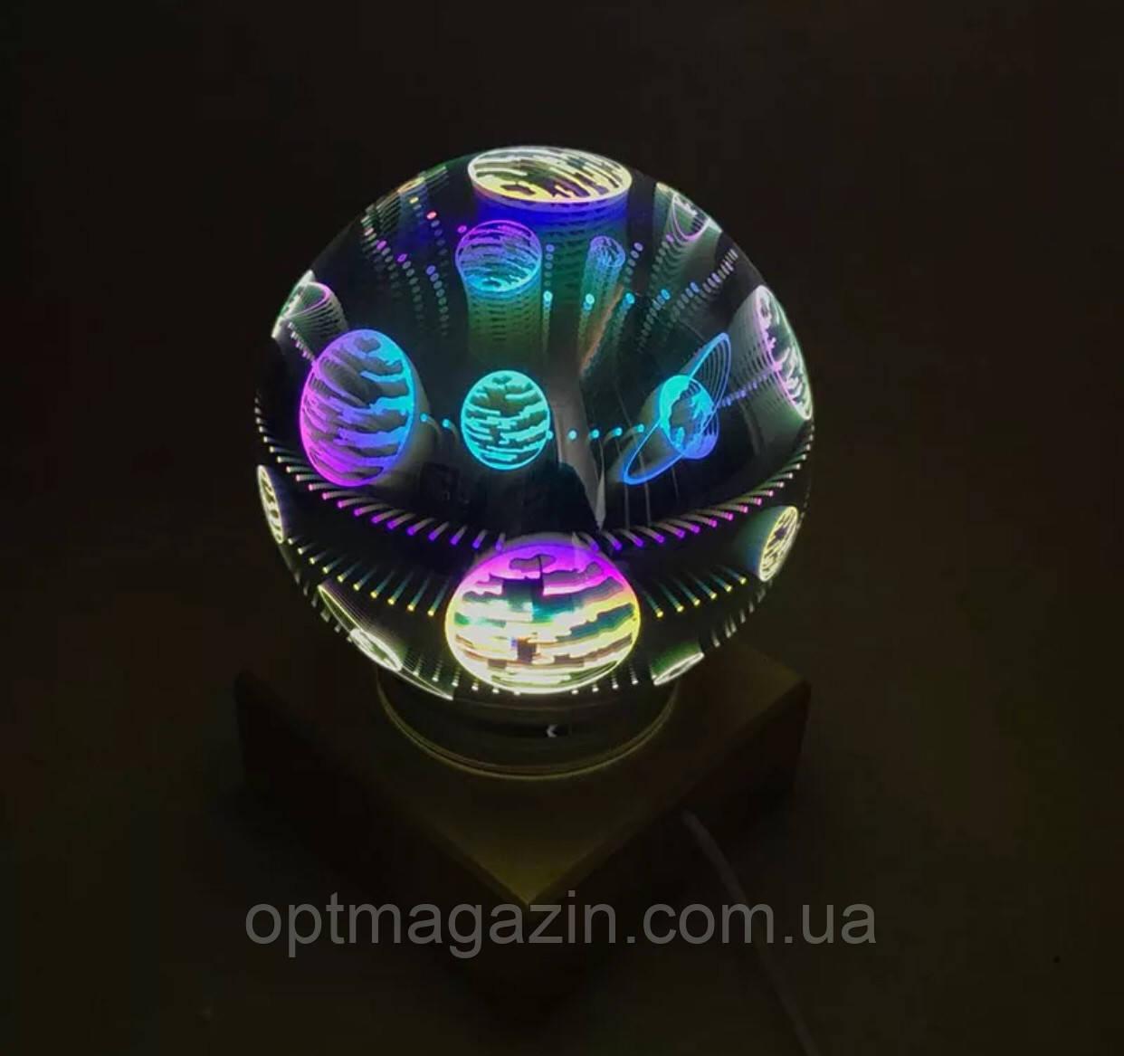 Куля нічник настільний з LED феєрверк\ 3d чарівний куля лампа