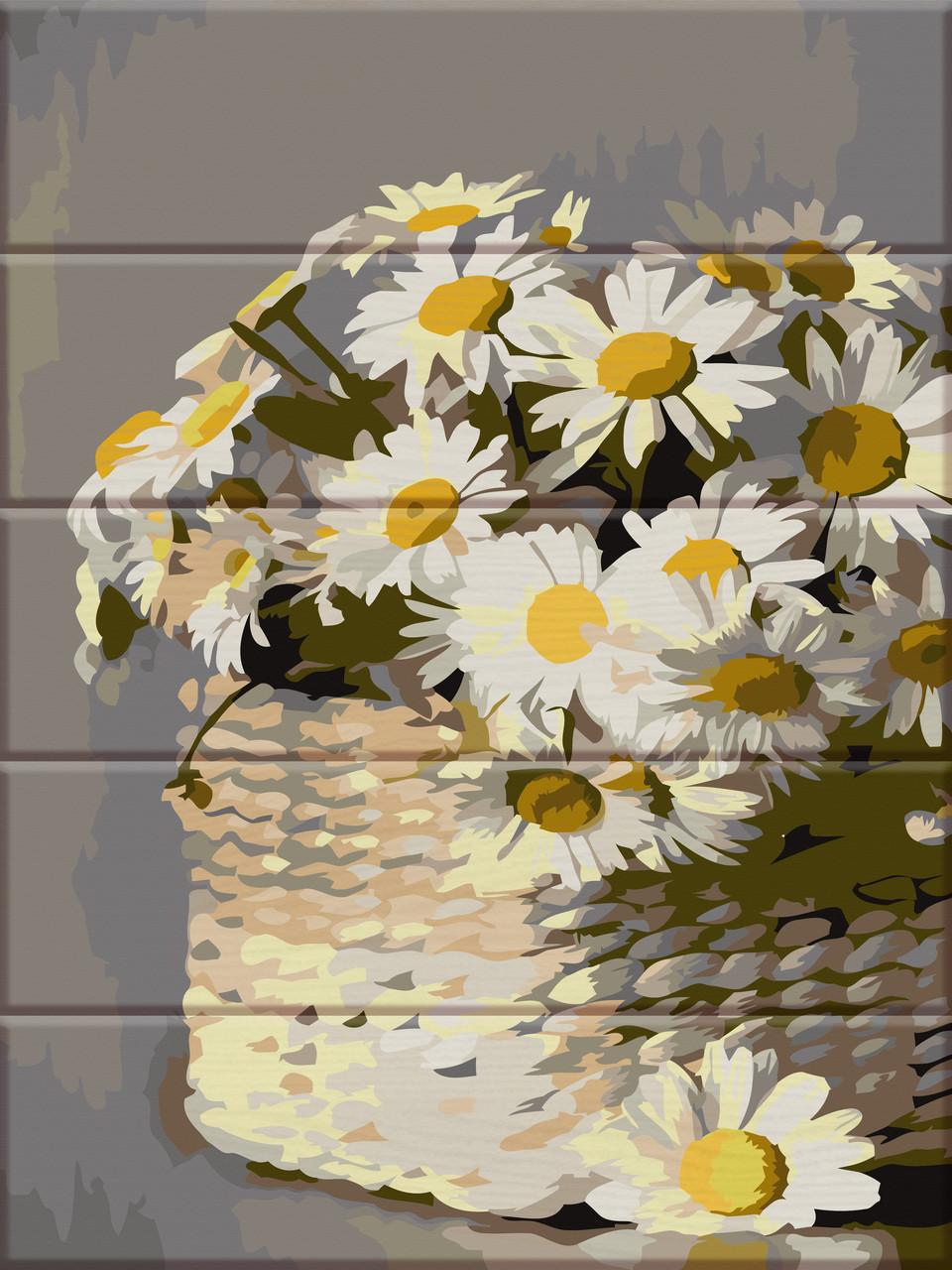 Художественный творческий набор, картина по номерам на дереве Ромашки в корзин, 30x40 см, «Art Story» (ASW087)