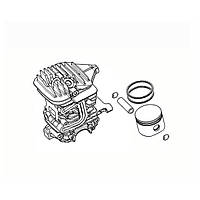 Цилиндр поршневая группа бензопили OLEO-MAC GS 44 Олео-Мак EFCO MT 440 (42mm) EMAK 50232023 оригинал