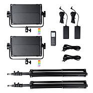 1,2 кВт Набір RGB LED постійного світлодіодного світла TOLIFO GK-S60RGB KIT - панелі 600LEDs 30x19x4,2см, диммер, фото 2