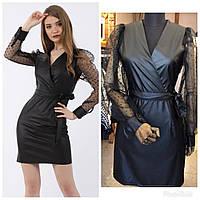 Модное женское   мини-платье  из эко-кожи 💣💃💣 💃👠👝 размер S M L XL ростовкой, фото 1