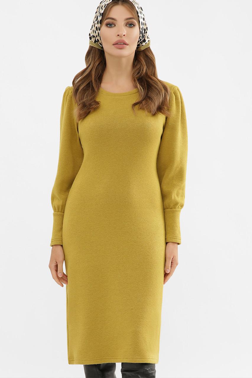 Платье с объемными рукавами в горчичном цвете Жизель