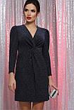 Вечернее платье на запах черный синий Нила, фото 2