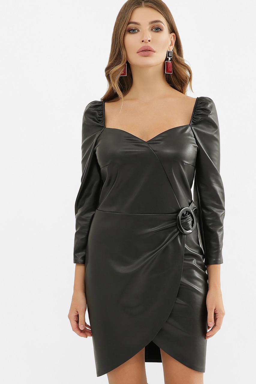Платье из экокожи в черном цвете Разия