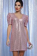 Вечернее платье с пайетками розовое Элозия