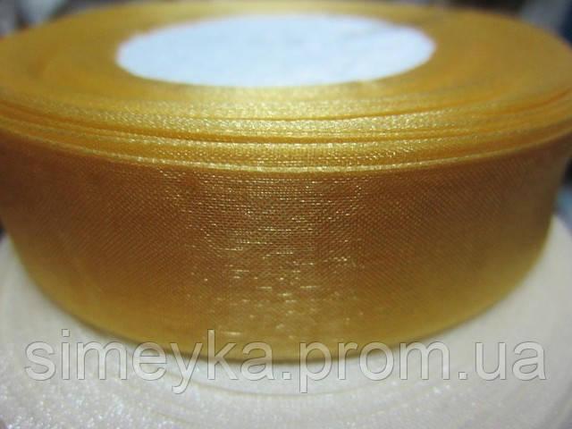 Лента органза 2,5 см золотистая