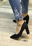 Женские туфли, черные,устойчивый каблук, фото 1