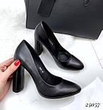 Чорні жіночі туфлі широкий каблук 10см, фото 2
