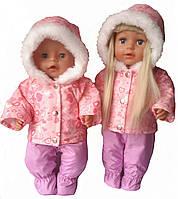 Зимний костюм для кукол Беби борн Сердечки 2х1