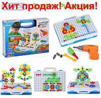 Мозаика Детский Развивающий конструктор с шуруповертом Creative Puzzle 193 детали TLH-28 для детей игра 3 4 5