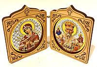 Складень деревянный, иконы овал (6х8см)