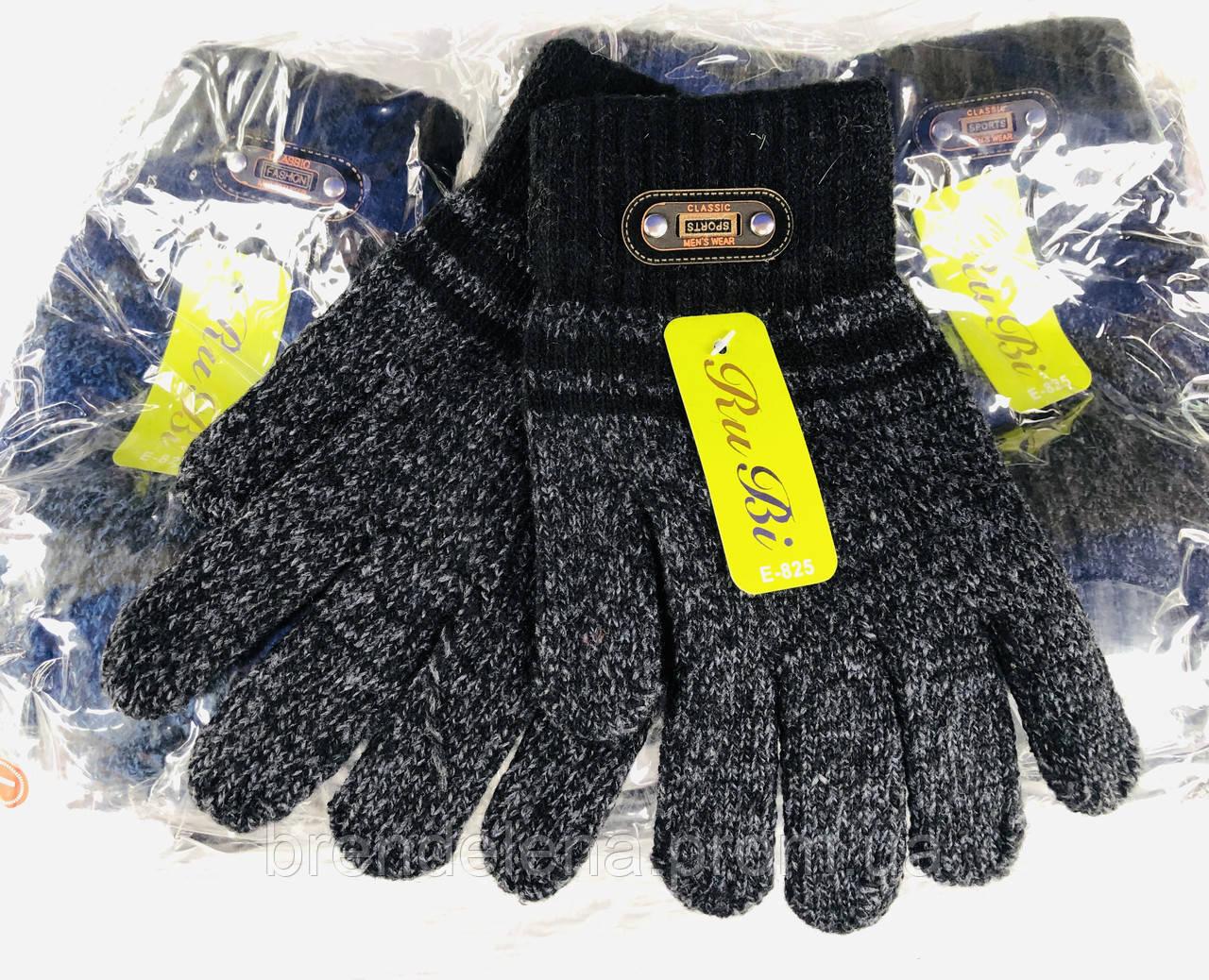 В'язані одинарні рукавички на підлітків з начосом, шерсть, бамбук, акрил (код 8250-00) 8-12 років