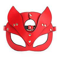 Женская эротическая маска кошки БДСМ красная. BDSM лисичка, садо мазо атрибутика для ролевых игр, фото 1