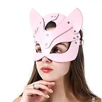 Женская эротическая маска кошки БДСМ. BDSM, садо мазо атрибутика для ролевых игр Розовый, фото 1
