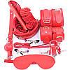 Набор для БДСМ игр (садо-мазо, BDSM атрибутика) 10 аксессуаров Красный