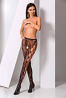 Эротические женские колготки - бодистокинг в сетку с цветочным узором и вырезом ТМ PASSION. Эротическое белье, фото 1