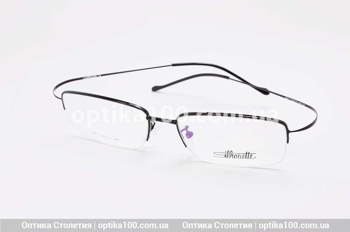 Металлическая черная оправа для очков Silhouette. Полуободковая с титановыми гибкими дужками. Лёгкая!