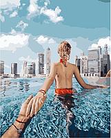 """Картина за номерами """"Йди за мною. Басейн в Дубаї"""" BrushMe полотно на підрамнику 40x50см GX24911"""