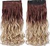 Волосся на заколках ТЕРМОСТІЙКІ омбре чорно-коричневі тресс волосся на заколках, фото 7