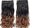 Волосся на заколках ТЕРМОСТІЙКІ омбре чорно-коричневі тресс волосся на заколках, фото 3