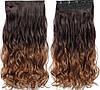 Волосся на заколках ТЕРМОСТІЙКІ омбре чорно-коричневі тресс волосся на заколках, фото 2