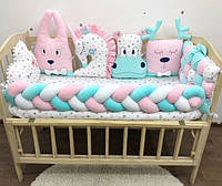 Бортики Зверята, защитные бортики в детскую кроватку, комплект бортиков для кроватки