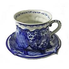 Керамическая чайная пара гжель Скоморох девочка