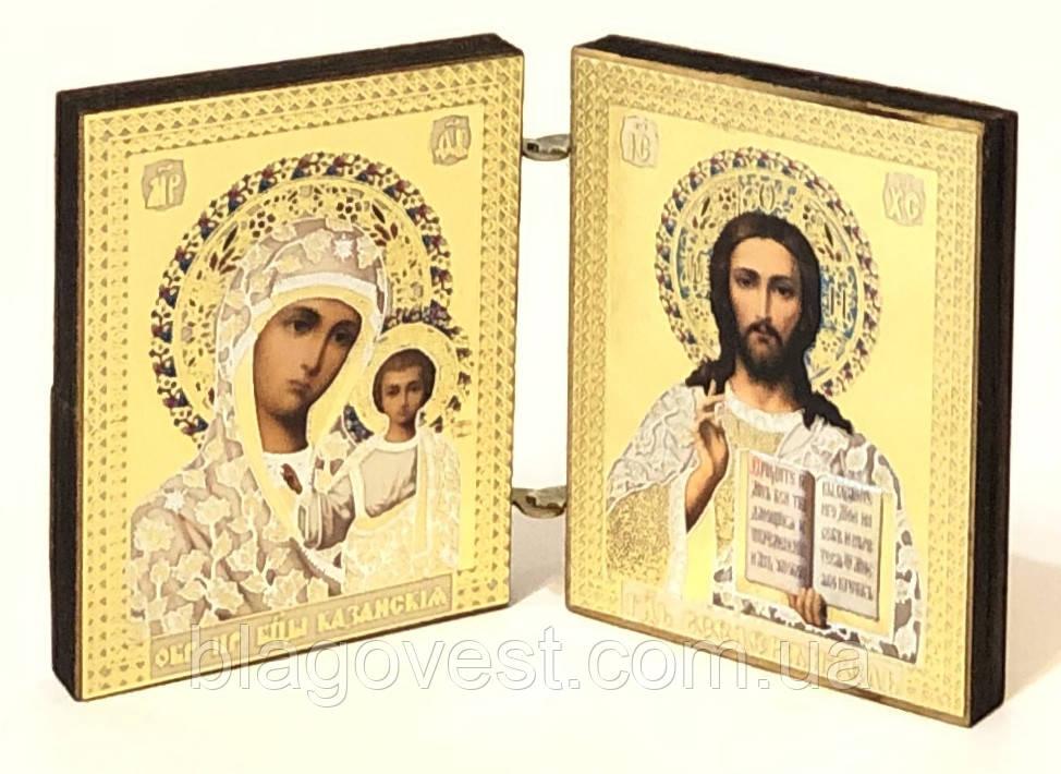 Складень деревянный карманный 4х5см (Казанская-Спаситель)