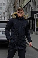 Парка Мужская зимняя куртка черная длинная Intruder Hotwint с мехом