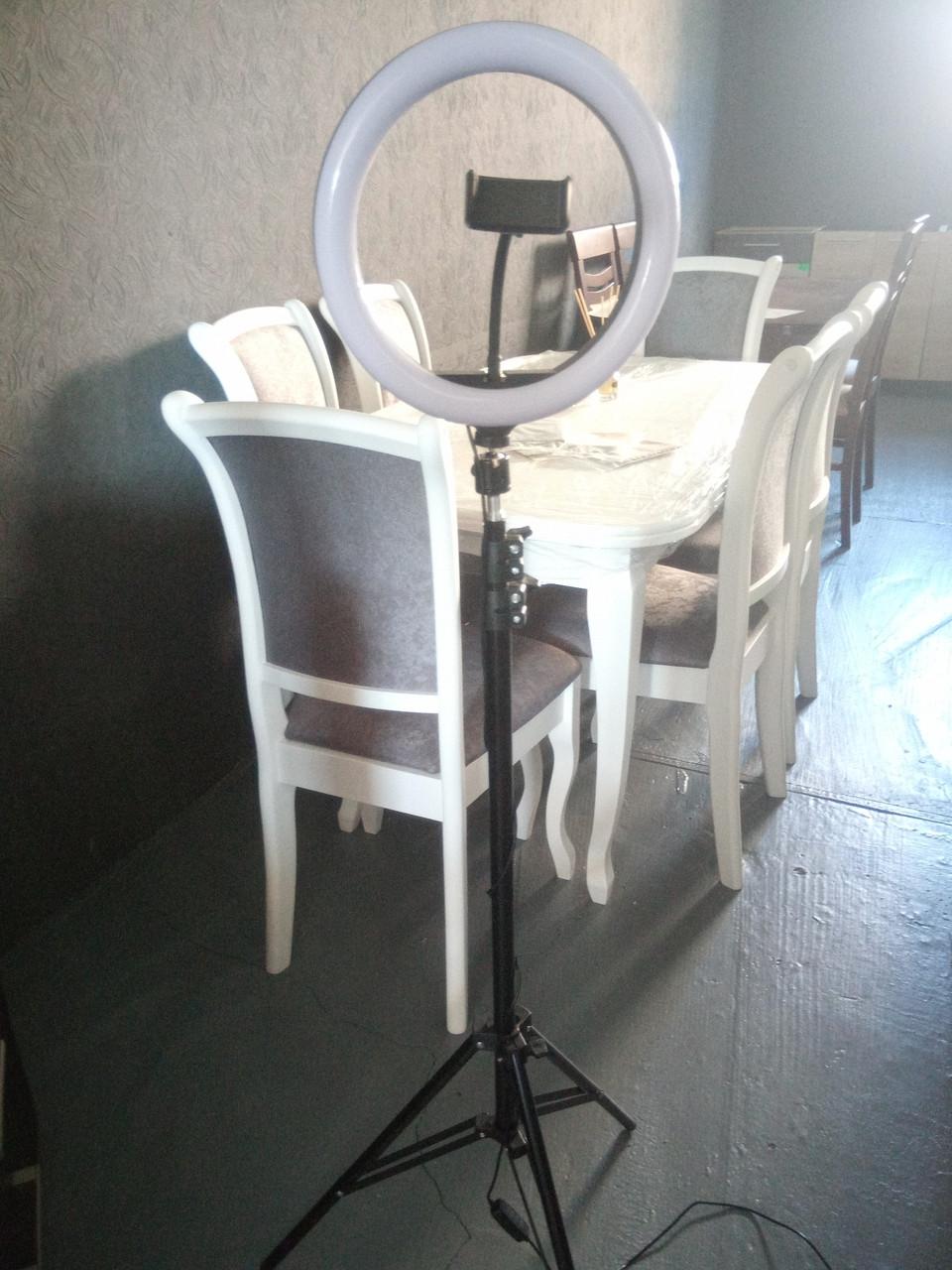 Селфи лампа 360 мм, кільцева лампа направленої дії на штативі 215 див. Селфи лампа від мережі 220в